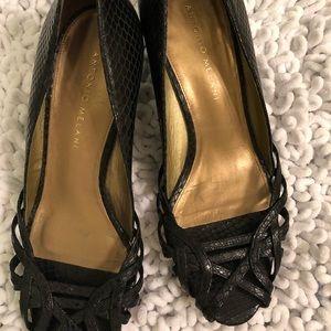 Black peep toe wedges Antonio Melani 7